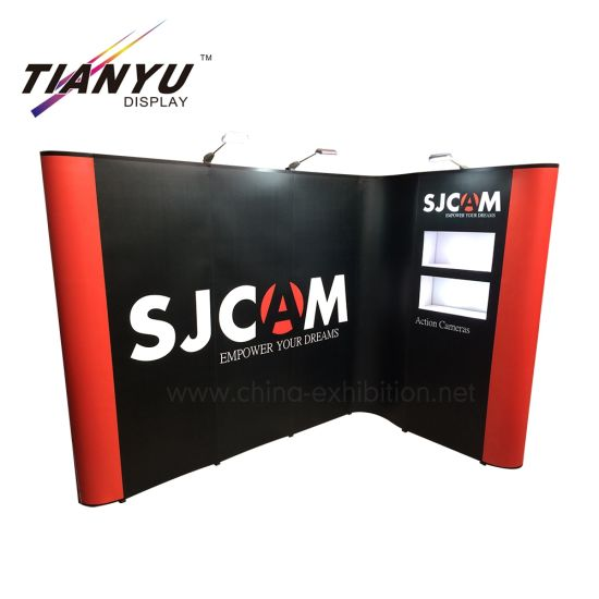 3X3 portátil en forma de L de pop pared de aluminio ajustable recta Banner Evento